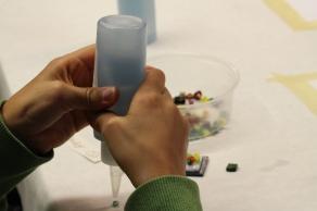 hands glue glass